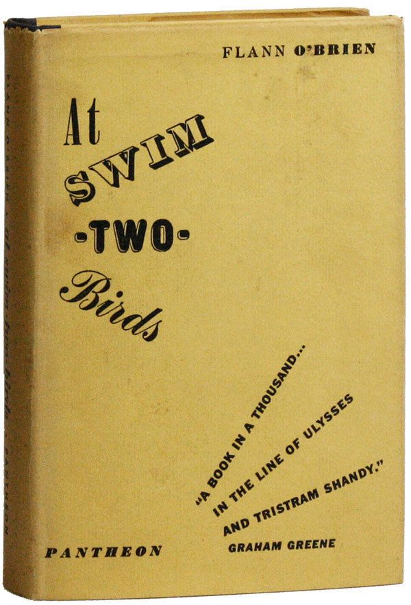Flann O'Brien AT SWIM-TWO-BIRDS 1st US edition, 1950. Originally published by Longmans in 1939, At Swim-Two-Birds was a commercial failure with less than 240 copies sold by the outbreak of the war. Additionally, the Longmans London premises and all unsold copies with it were destroyed by the Luftwaffe in 1940. The novel was only rediscovered and republished in this edition in 1950, though Pantheon only notes the originally publication date of 1939 on the title page and copyright.