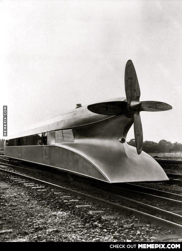 Schienenzeppelin - A German high speed train from the 1930s. Top speed was 210 km/h .