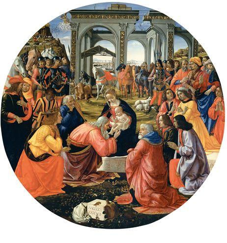 Domenico Ghirlandaio: Adorazione dei Magi  Cappella Tornabuoni . Santa Maria Novella firenze