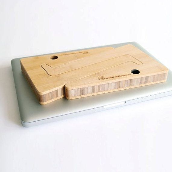 WOOD LAPTOP STAND laptop riser present for by greentunadesign