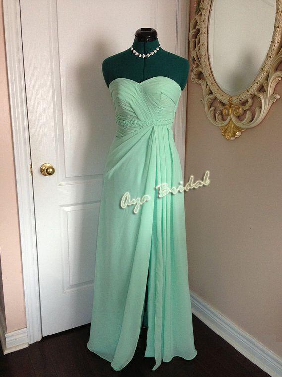 Vestido de fiesta de noche sin tirantes vestido largo de Dama de honor / vestido de novia menta / vestido rosa Nude