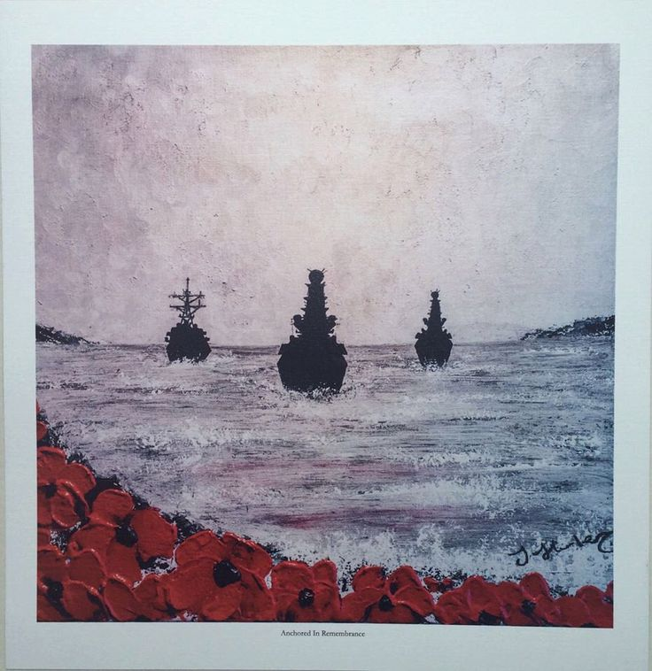 Anchored In Remembrance from the War Poppy Collection No.15 by Jacqueline Hurley. Professional quality print in remembrance of Our Heroes by PortOutStarboardHome on Etsy https://www.etsy.com/listing/232254810/anchored-in-remembrance-from-the-war