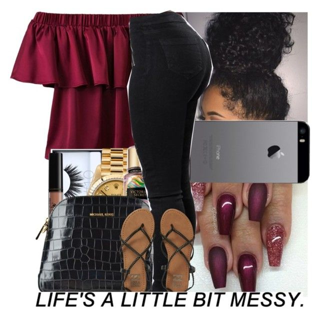 """Untitled #340"" by issaxmonea ❤ liked on Polyvore featuring WithChic, Huda Beauty, NYX, Rolex, Victoria's Secret, MICHAEL Michael Kors and Billabong"
