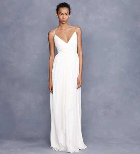 30 of the Best Beach Wedding Dresses. We love the simplicity and understated femininity of this gown.    J.Crew Angelique Gown ($675)