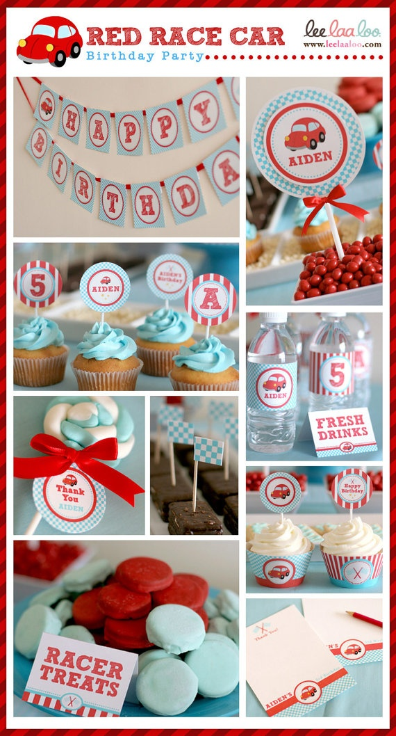 vintage red race car birthday party, DIY printables by http://www.etsy.com/shop/busybeeparty