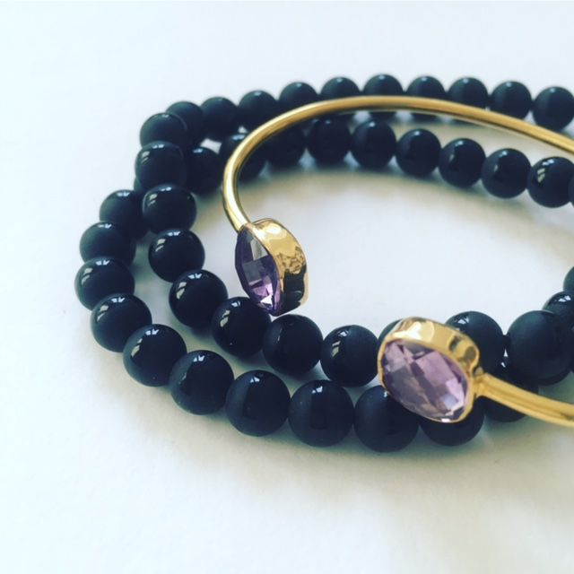 Onyx and amethyst bracelets  Cahana Jewelry is exclusively designed to be a beautiful chest for your goals. To protect and honor them. And to always carry them with you.