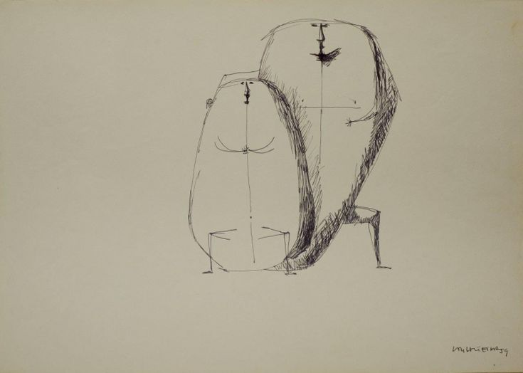 Sem Titulo 169)10 1959 Chinese Ink x Paper 30,6cm x43,3cm #JorgeVieira #sculpture #SaoMamede #art #drawings #visit #lisbon #gallery