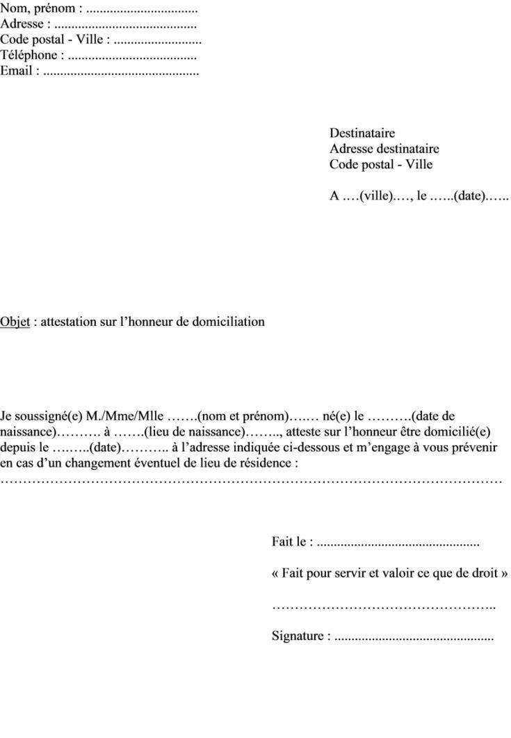 Modèle attestation sur l'honneur de domicile servant justificatif de domicile en 2020 | Modele ...