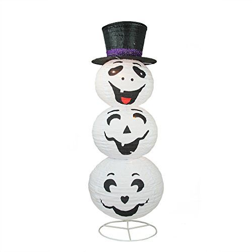 Felices Pascuas Collection 44 inch Pre-Lit White and Black Happy Ghost with Top Hat Halloween Yard Art Decoration