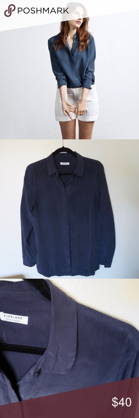 Everlane Brushed Silk Navy Blouse, medium Everlane Brushed Silk Navy Blouse, medium   Beautiful brushed silk navy blouse with rounded collar and hidden buttons. Good used condition. No tears or pulls. Please feel free to ask any questions, or request more photographs. Everlane Tops Blouses