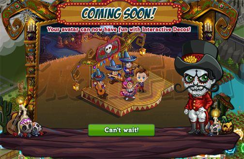 Carnaval De Los Muertos: Avatar Interaction tempo stimato per la lettura di questo articolo 1 minuti  Questa è una delle novità di questa nuova farmCarnaval De Los Muertos!  Stiamo parlando di particolari decorazioni (una di queste è il premio finale della funzione Carnaval Challenge). Cosa si intende per Interazione con lAvatar?E molto semplice prima di tutto sapete tutti cosa è lAvatar? In Farmville lAvatar è il vostro personaggio quello che sta sempre al centro e che quando cliccate sugli…