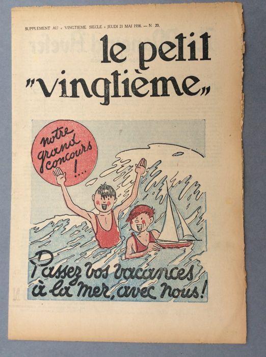 """Kuifje - de kleine twintigste 20 - B - EO (1936)  De kwestie van de donderdag mei 21 1936 met een dubbele bord gepubliceerd als """"De nieuwe avonturen van Kuifje en Milou"""" aangezien de definitieve titel """"Het gebroken oor"""" had nog niet is gekozen door Hergé en Casterman voor de publicatie van de hardcover album avontuur.Het is het toneel van haar ga falen van Kuifje kolonel die met de generaal speelt.Dicht bij de nieuwe toestand voor deze typisch probleem van de atmosfeer van """"Het gebroken…"""