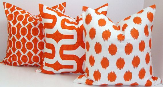 Bright ORANGE Pillows SET of THREE.Orange.20x20 by ElemenOPillows, $54.00