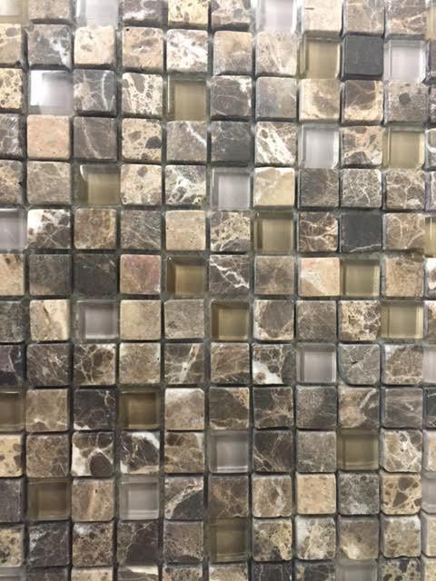 "Dark Emperador Tumbled Glass Mosaic 5/8"" x 5/8"" (Free shipping)"