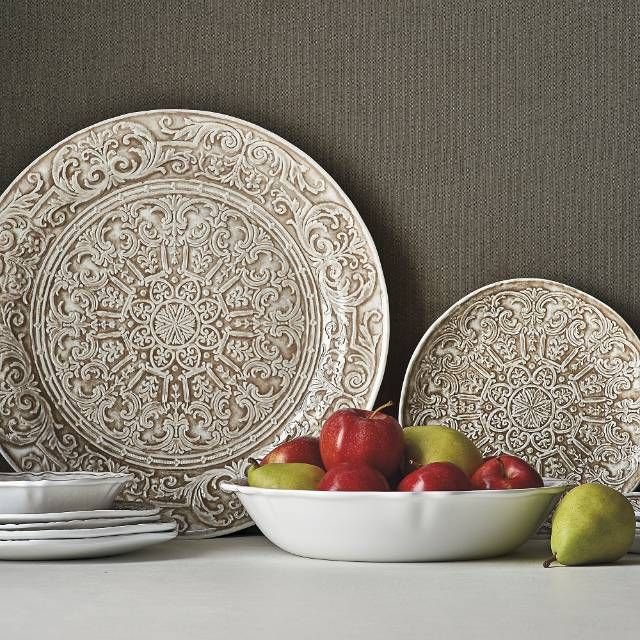 The tray and plates in our Embossed Floral and Victorian Collection are clad with an ornate floret medallion design in taupe. Cream bowls, with taupe edging mix and match with a variety of collections. Set the stage for a versatile and romantic table indoors or out.100% melamine Suitable for indoor or outdoor useShatterproof and food-safeDishwasher safe, top rack only Do not microwave