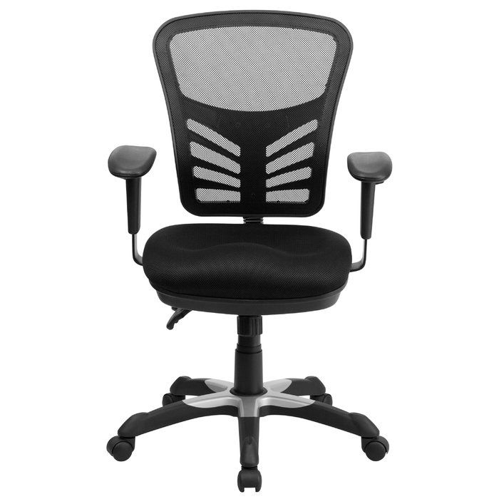 Contemporary mesh office chair if you are looking for an easy to adjust office chair than this triple paddle chair is an excellent choice. The colorfully padded mesh upholstery will add color to your space as well as keep you comfortable while performing tasks. Mesh office chairs can keep you more productive throughout your workday with its comfort and ventilated design. The mid-back design offers support to the mid-to-upper back region. The locking back angle adjustment lever changes the…