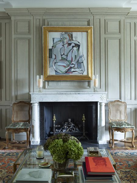 very textural paneling, lovely mantel........Always reliable, Nicholas Haslam