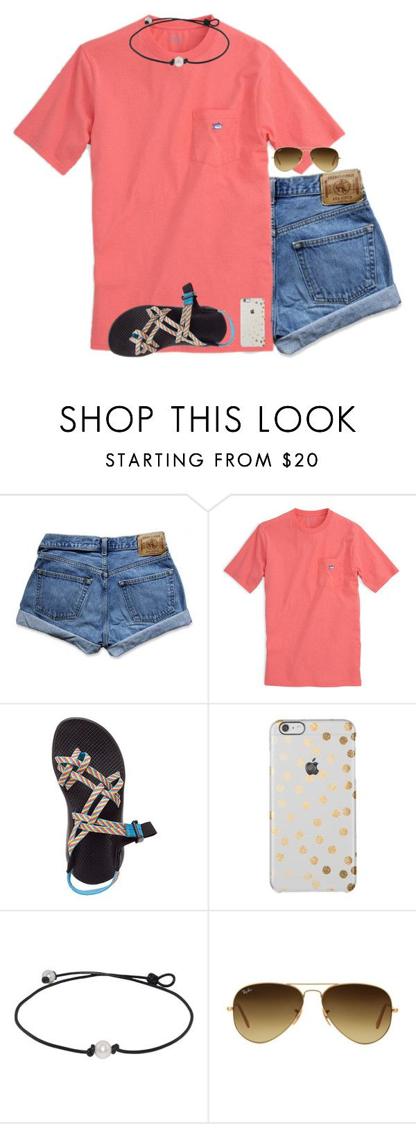 """Are y'all on spring break☀️"" by anappleadaykeepsfashionuptodate ❤ liked on Polyvore featuring Abercrombie & Fitch, Southern Tide, Chaco and Ray-Ban"