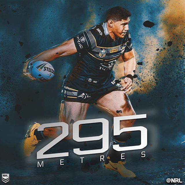 Last week I created this graphic for the NRL celebrating @_taumaloloj record breaking metres for a forward. He is one of my favourite non Broncos players too.  #northqueensland #cowboys #nrl #letsmakehistory #rugbyleague #stats #infographic #jasontaumololo