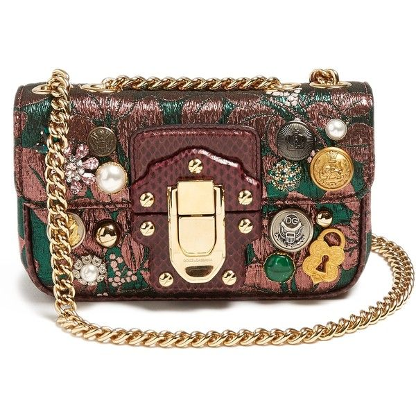 Dolce & Gabbana Lucia embellished jacquard shoulder bag ($1,995) ❤ liked on Polyvore featuring bags, handbags, shoulder bags, over the shoulder handbags, metallic shoulder bag, brown over the shoulder bag, over the shoulder purse and studded purse
