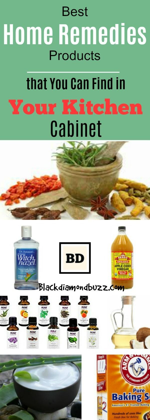 Best Home Remedies Products that You Can Find in Your Kitchen Cabinet for natural healing - Apple cidar vinegar , baking soda, aleo vera , coconut oil,ginger , witch hazel, hydrogen peroxide ,tea tree, lavender ,and turmeric. #homeremedies #health