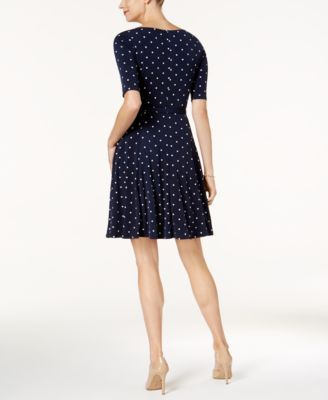 Charter Club Petite Belted Dot-Print Fit & Flare Dress, Created for Macy's - Blue P/XL