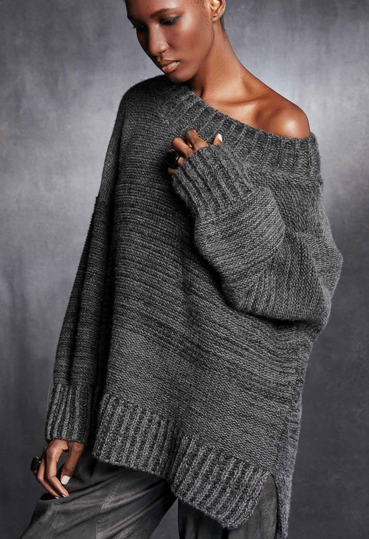 Oversized Wide Neck Sweater – Urban Zen Donna Karan