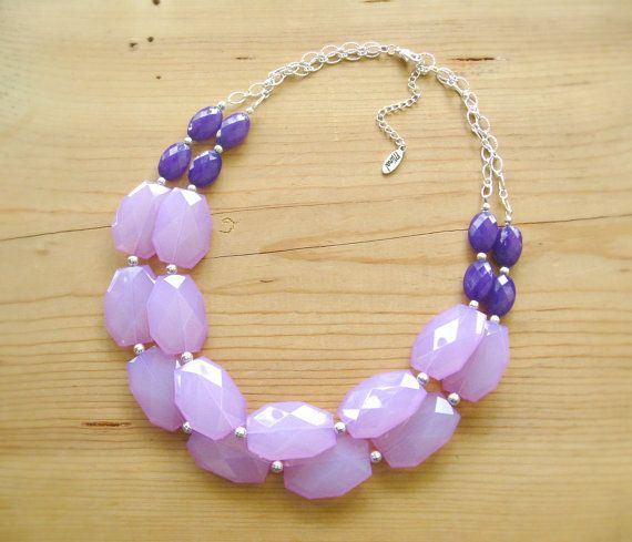 Lavender Eggplant Purple statement necklace by ThatsmineBoutique, $40.00