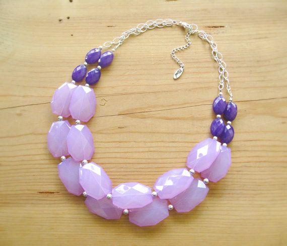 Lavender Eggplant Purple statement necklace by ThatsmineBoutique, $40.00
