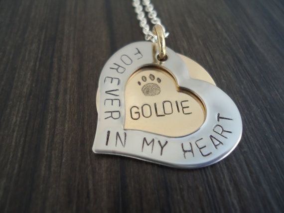 Oh, I love this!!!!! Personalized Pet Memorial Necklace Heart Hand Stamped Pet Loss Necklace In Memory of Cat or Dog Name Jewelry Inside Dog and/or Cat Design
