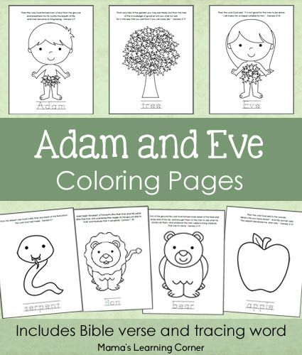 7-page set of Adam and Eve Bible Coloring Pages