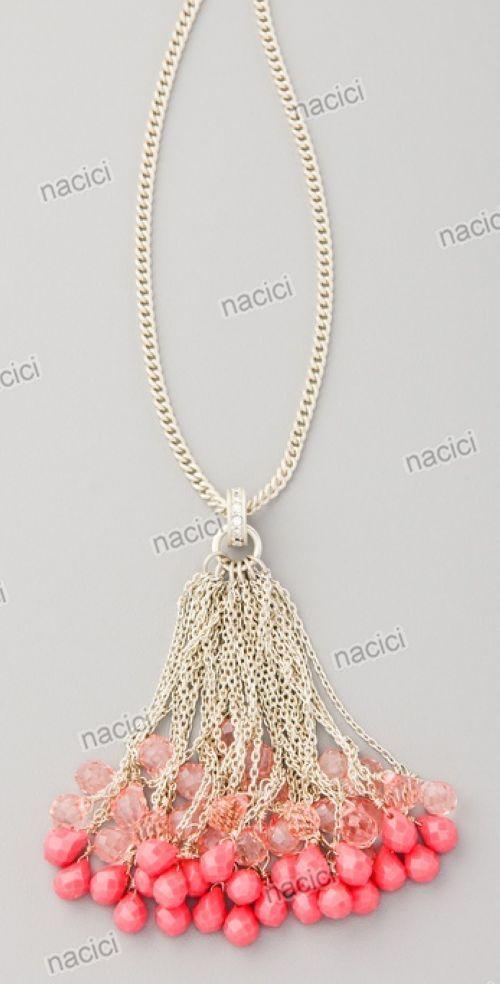 Beaded tassel necklace.