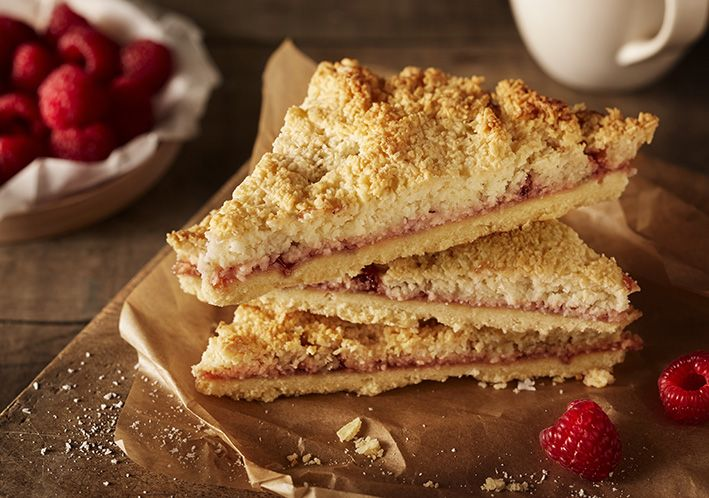 Food Photography. Coconut & Raspberry Triangle for Lomond Foods.