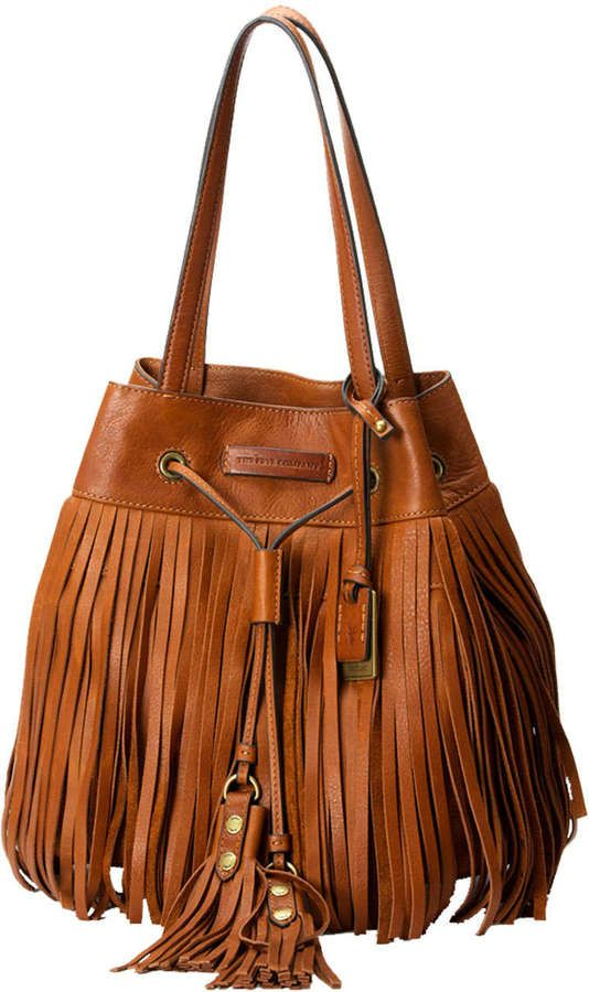 Frye Heidi Fringe Drawstring Shoulder Bag, Whiskey