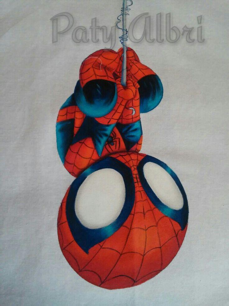 Pintura textil hombre araña paty albri