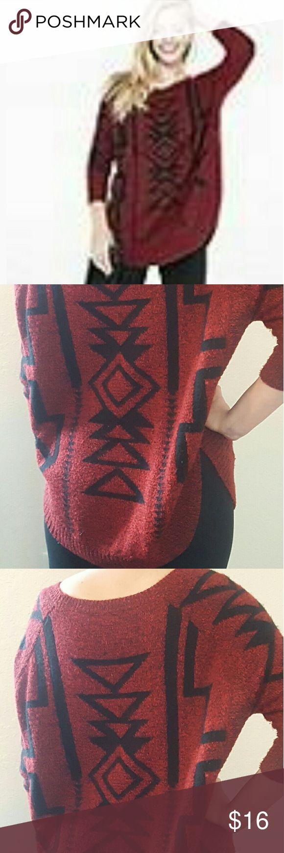 Marled Southwestern Extreme Circle Hem Sweater Woolen. Machine wash. Lay flat to dry Express  Sweaters Crew & Scoop Necks