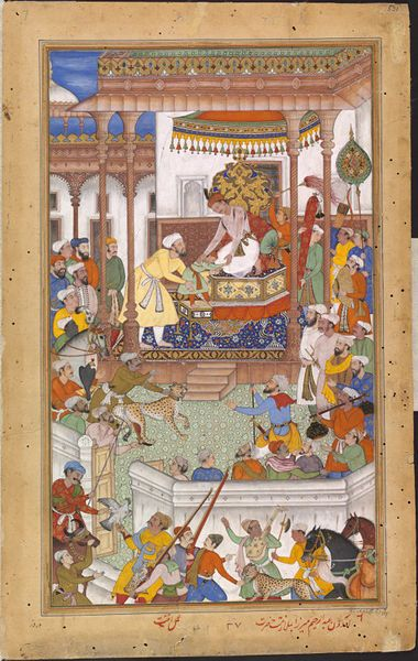 This illustration by Anant depicts Akbar receiving Abdu'r Rahim, the four-year old son of Bairam Khan, at court, following his father's assassination. The child is helped onto the dais by another man, who has been identified tentatively as Ataga Khan.