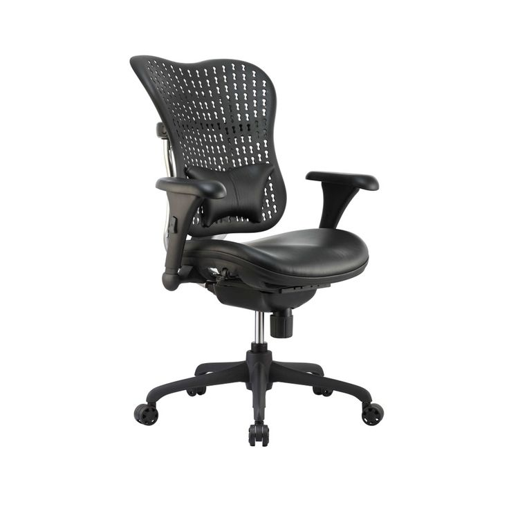 OPS B4 executive desk chairs combine the fundamental engineering of a traditional ergo office chair with the added exclusivity you will find in higher end brands… without the cost! Also great as conference chairs, they have a space age  plastic ratchet back, a built in black leather lumbar pad and padded black leather seat. Model# B4