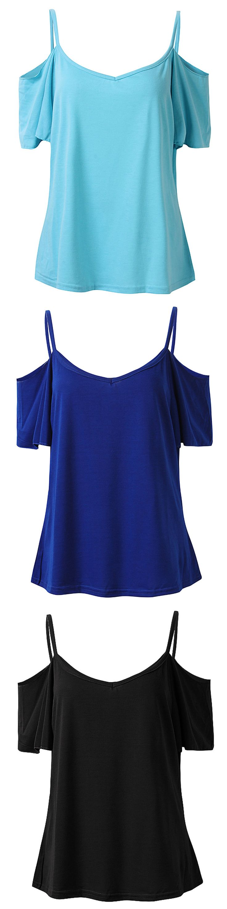 US$7.62 Sexy Women Off Shoulder Strappy Short Sleeve V Neck Cotton Polyester T-shirt
