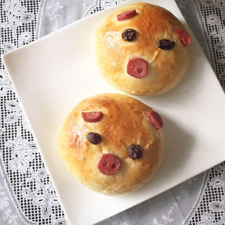 Homemade Mashed Potato & Ham Piggy Buns.
