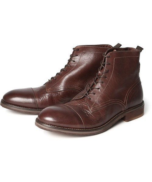 975b5c820c2 H By Hudson Palmer Tan Leather Toe Cap Brogue Drum Dye Formal Boots ...