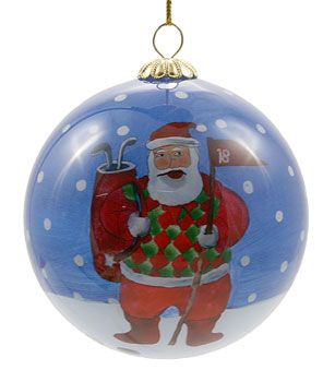 Oooh Santa plays golf too! Delightful design to hang on your tree or gifts for golf lovers! #golf #christmas #christmastree #christmasdecorations #lorisgolfshoppe
