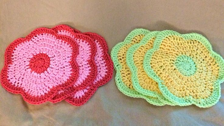 Crochet Dishcloths, Crocheted Dishcloths, Dishcloths, Round, Yellow and Green, Pink by PatternsToPretty on Etsy