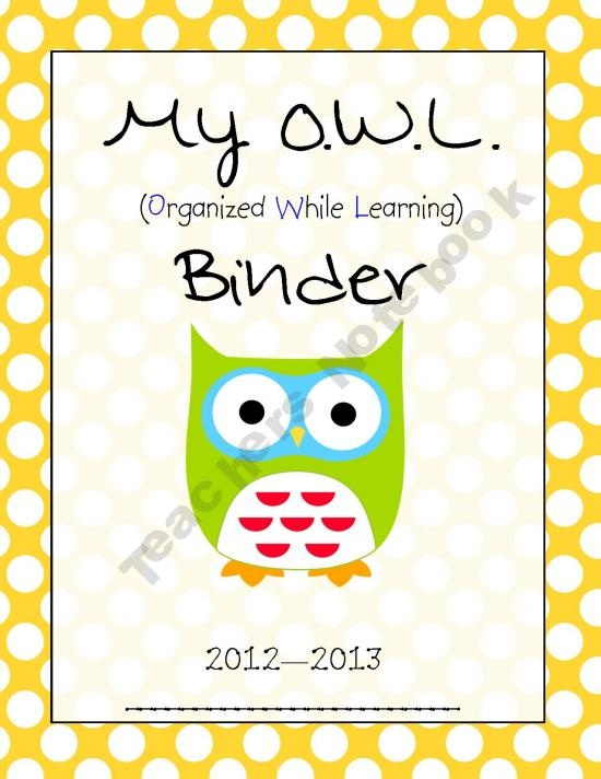 My OWL Binder - Homework/Take Home Folder Cover Page