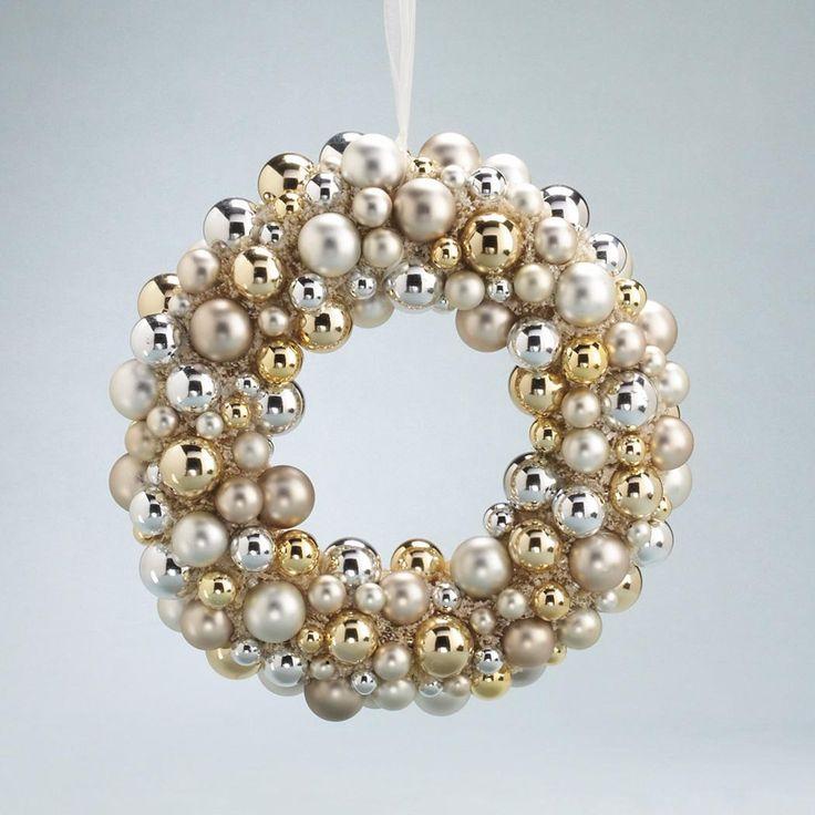 Silver, Gold and White ornament wreath