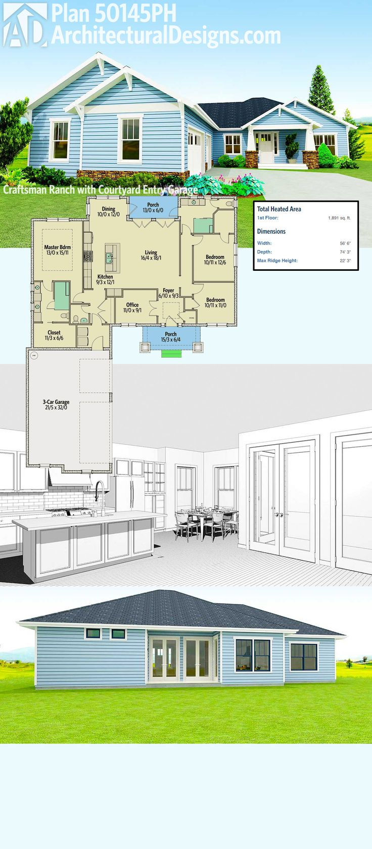 Best 25 craftsman ranch ideas on pinterest ranch floor for Courtyard entry house plans