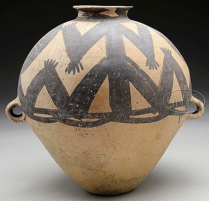 "STONEWARE STORAGE JAR. Neolithic Period (2nd century B.C.), China. Yang Shao culture. Various anthropomorphic and geometric designs in red and black/brown color. SIZE: 16"" h x 17"" dia."