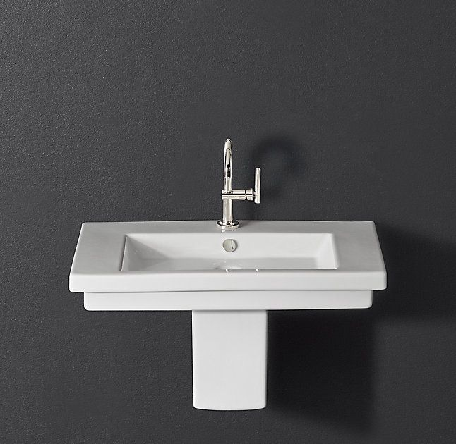 50 best small bathroom images on pinterest small for Floating pedestal sink