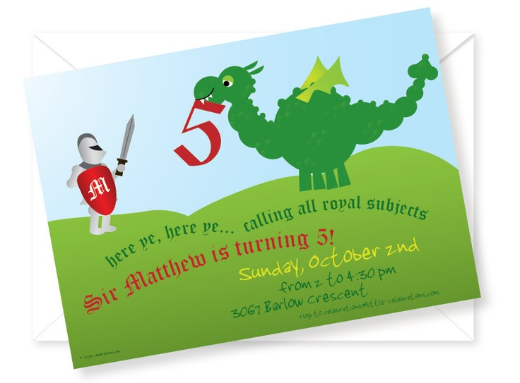 Customized and Printable Knights and Dragons Birthday Party Invitation. $12.95, via Etsy.
