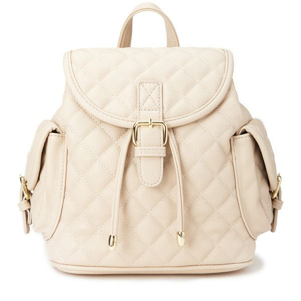 FOREVER 21 Quilted Faux Leather Backpack (40 AUD) ❤ liked on Polyvore featuring bags, backpacks, bolsas, forever 21, taupe, vegan leather backpack, knapsack, shoulder bags и forever 21 backpacks